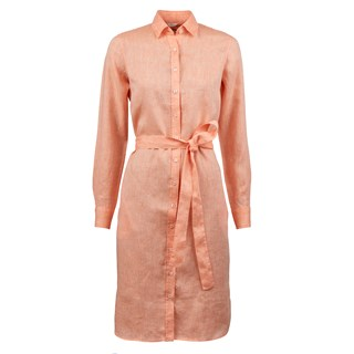 Orange Linen Shirt dress