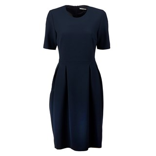 Navy Dress With Pleats