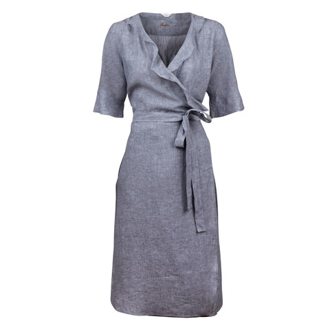 Grey Linen Dress With Ruffle Edges