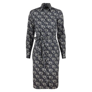 Navy Floral Cotton Wool Dress With Belt