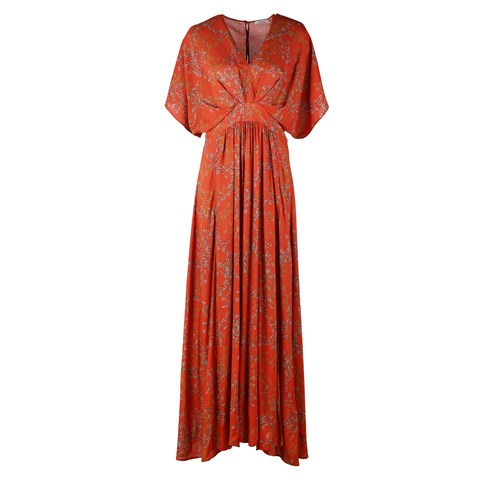 Victoria Floral Long Dress Orange