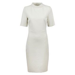 Crème Dress With High Collar