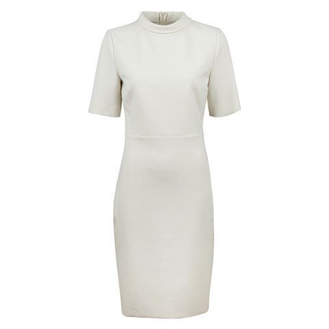 Créme Dress With High Collar