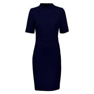 Navy Dress With High Collar
