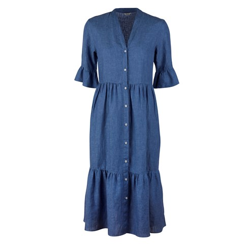 Angela Linen Dress Blue