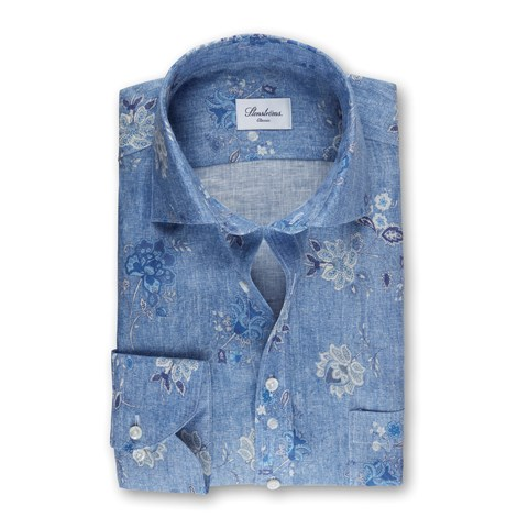 Blue Floral Patterned Linen Classic Shirt