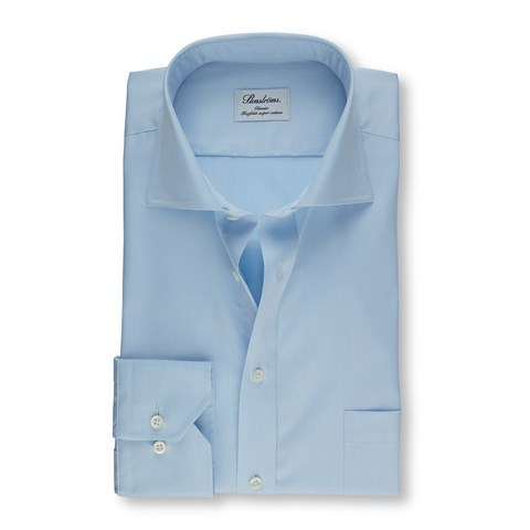 Light Blue Classic Shirt In Superior Twill