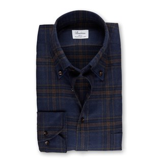 Navy/Brown Check Flannel Classic Shirt
