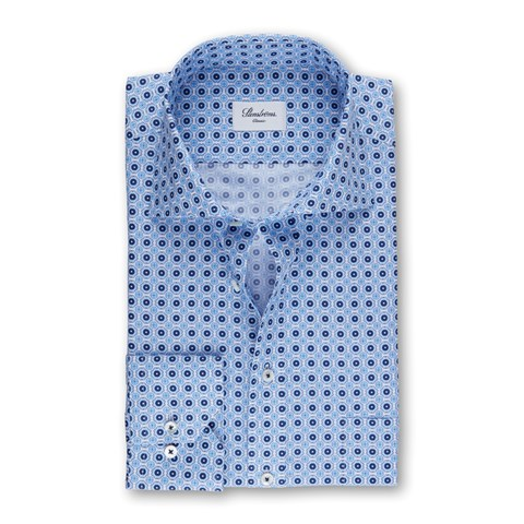 Blue Classic Shirt With Pattern