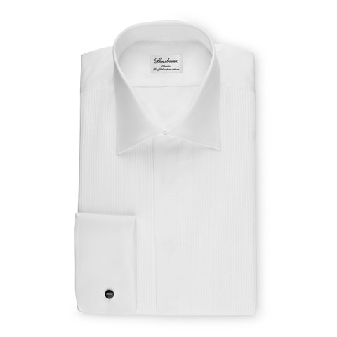 White Classic Tuxedo Shirt With Classic Collar