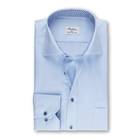 Light Blue Classic Shirt With Geometric Contrast