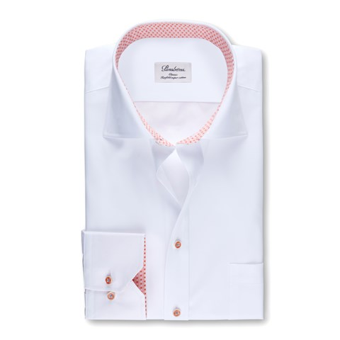 White Classic Shirt With Orange Contrast Details