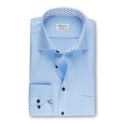 Light Blue Classic Shirt With Contrast