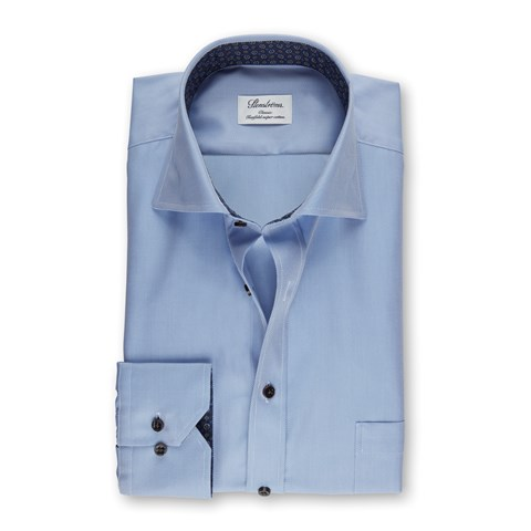 Blue Classic Shirt With Contrast