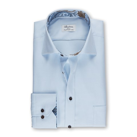 Light Blue Micro Patterned Classic Shirt With Contrast