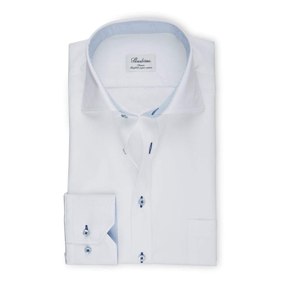 6584e845add24f White Classic Shirt With Blue Contrast Details