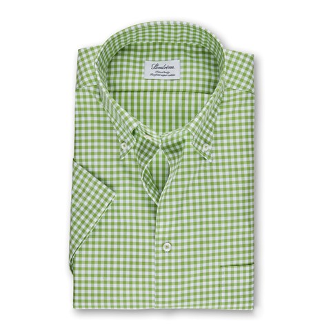 Light Green Gingham Fitted Body Shirt, Short Sleeves