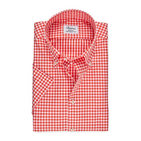 Red Gingham Fitted Body Shirt, Short Sleeves