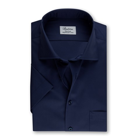 Navy Fitted Body Shirt In Superior Twill, Short Sleeves