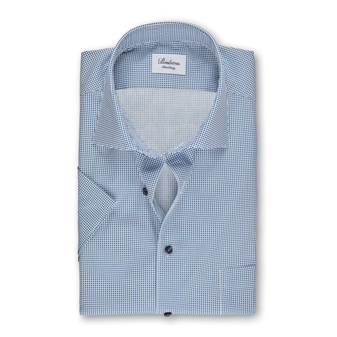 Blue Polka Dot Fitted Body Shirt, Short Sleeves