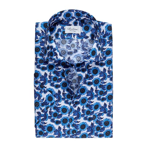 Blue Sunflower Fitted Body Shirt, Short Sleeves