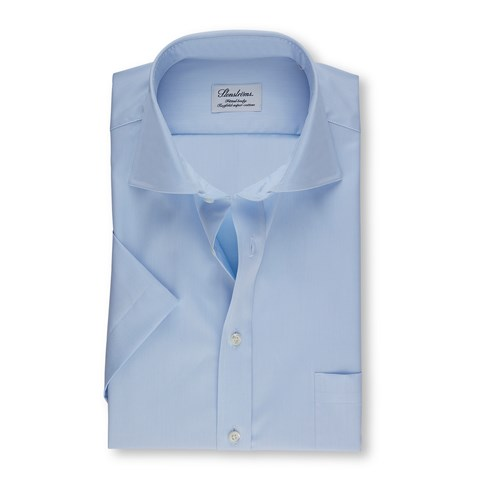 Blue Fitted Body Shirt In Superior Twill, Short Sleeves