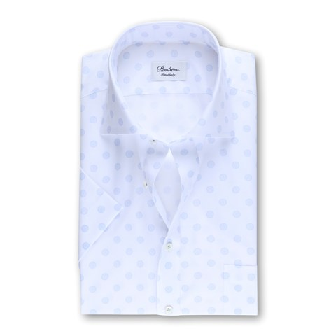 Patterned Fitted Body Shirt, Short Sleeves