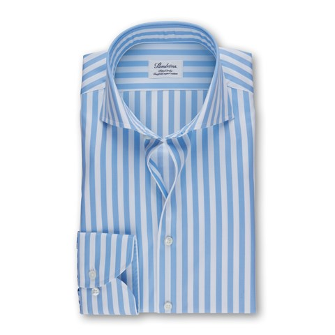 Striped Fitted Body Shirt In White And Blue