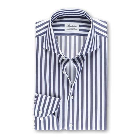 Striped Fitted Body Shirt Navy