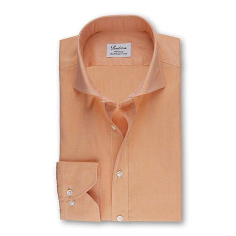 Orange Fitted Body Shirt in Pinpoint Oxford