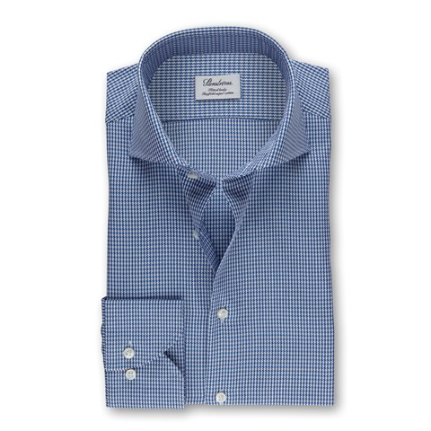 Blue Hounds Tooth Fitted Body Shirt