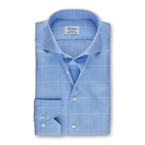 Light Blue Glen Check Fitted Body Shirt