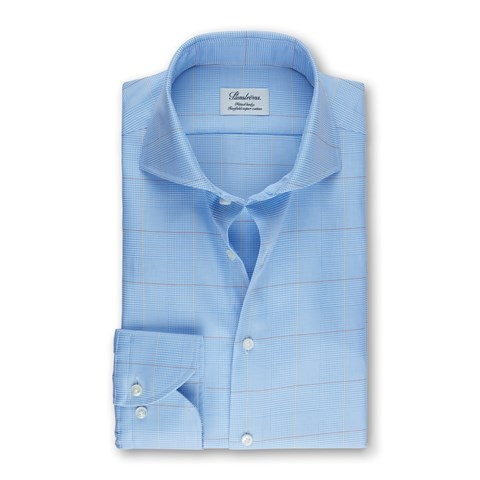 Light Blue Check Fitted Body Shirt