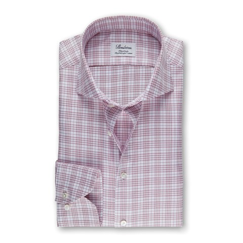 Burgundy Check Fitted Body Shirt