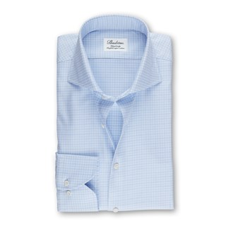 Light Blue Checked Fitted Body Shirt