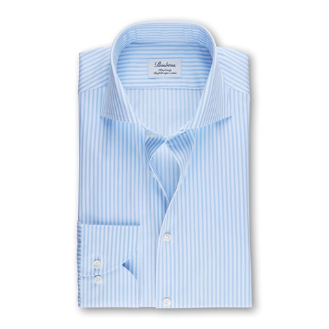 Striped Fitted Body Shirt Light Blue