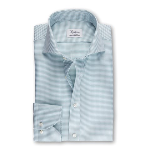 Green Houndstooth Fitted Body Shirt