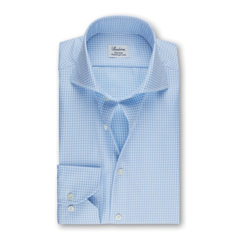 Blue Check Fitted Body Shirt