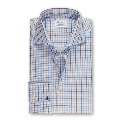 Blue/Brown Checked Fitted Body Shirt