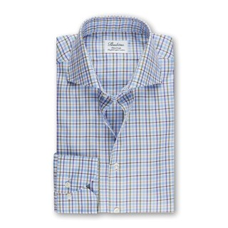 Green/Blue Checked Fitted Body Shirt