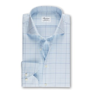 Blue Windowpane Fitted Body Shirt