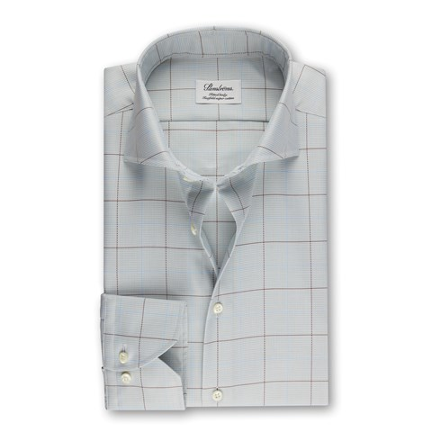 Green Windowpane Fitted Body Shirt