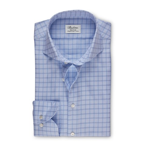 Blue Checked Fitted Body Shirt, Extra Long Sleeves