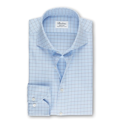 Light Blue Check Fitted Body Shirt, Extra Long Sleeves