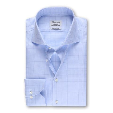 Blue Windowpane Fitted Body Shirt, XL-sleeve