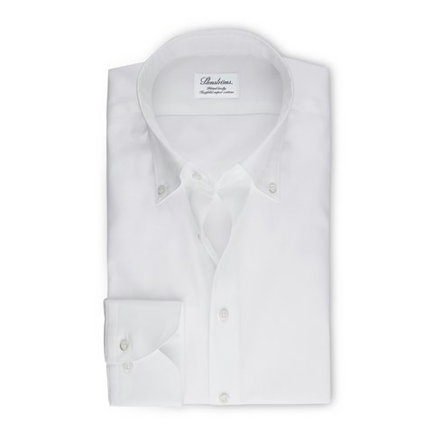 White Fitted Body Shirt In Pinpoint Oxford
