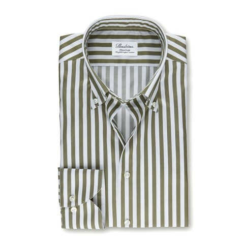 Forest Green Striped Fitted Body Shirt
