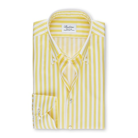 Yellow Striped Fitted Body Shirt