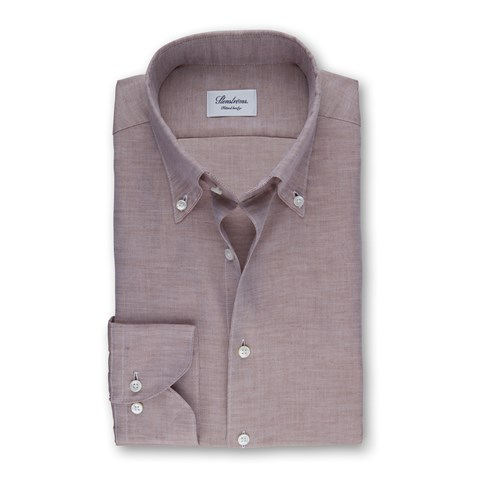 Brown Mélange Fitted Body Shirt