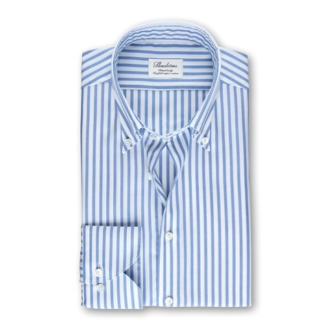White/Blue Striped Fitted Body Shirt